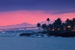 Costa de Hawaii en la noche Imagen de archivo libre de regalías