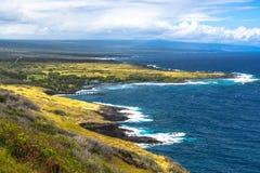 Costa de la bahía de Honuapo en la isla grande, Hawaii Foto de archivo libre de regalías
