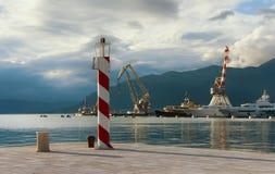 Costa de la ciudad de Tivat montenegro Imagen de archivo libre de regalías