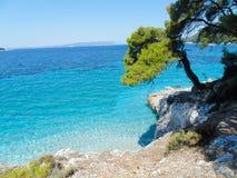 Costa de la isla de Skopelos Foto de archivo libre de regalías