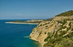 Costa de la isla del Egeo Thassos, Grecia Imagenes de archivo