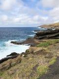 Costa costa de la roca volc?nica a lo largo de las orillas de Oahu, Hawaii foto de archivo