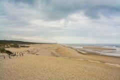 Costa de Lavos海滩在菲盖拉达福什,葡萄牙 免版税库存照片