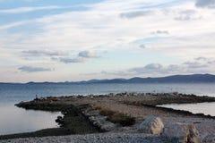 Costa de mar com por do sol em Dalmácia Adria Croatia foto de stock royalty free