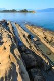 Costa de mar de la mañana, Albania Fotografía de archivo
