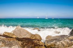 Costa de mar em Badalona Imagens de Stock