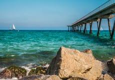 Costa de mar em Badalona Fotografia de Stock Royalty Free