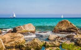 Costa de mar em Badalona Foto de Stock Royalty Free