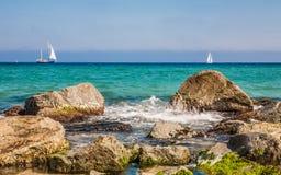 Costa de mar em Badalona Fotos de Stock
