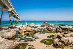 Costa de mar em Badalona Fotos de Stock Royalty Free