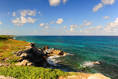 Costa de mar na ilha Isla Mujeres, México Fotos de Stock Royalty Free