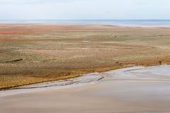 Costa de mar na maré baixa, ` s de St Michael, França Fotografia de Stock