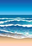 Costa de mar, ondas na água Ilustração Stock