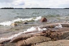 Costa de mar rochosa e ondas de água espumosas Imagem de Stock