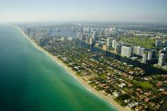 Vista aérea de la costa en Miami   Fotografía de archivo