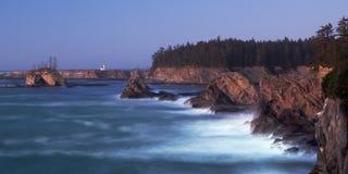 Costa de Oregon - faro de Arago del cabo Imagenes de archivo