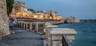 Costa de Ortigia en la ciudad de Syracuse Fotografía de archivo libre de regalías
