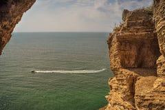 Costa de Rocky Black Sea en el cabo Kaliakra, Bulgaria fotos de archivo