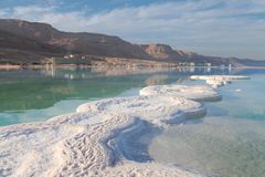 Costa de sal do Mar Morto israel Imagem de Stock