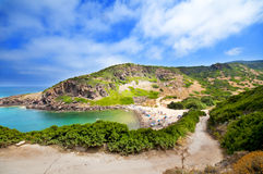 Costa de Sardinia, de mar, de areia e de rochas Foto de Stock Royalty Free