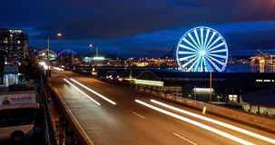 Costa de Seattle con Ferris Wheel almacen de video