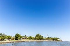 Costa de St Simons Island com farol foto de stock royalty free