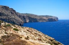 Costa del mar Mediterraneo sulla parte del sud dell'isola di Malta Fotografie Stock Libere da Diritti