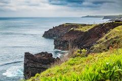 Costa del nord di sao Miguel Island, l'Oceano Atlantico fotografia stock