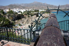 COSTA DEL SOL BEACH SPAIN NERJA. Great view to beach, sea, mountains and Nerja from Balcon de Europa Stock Photos