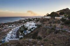 Costa del Sol bij schemer Royalty-vrije Stock Foto's
