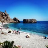 Costa del Sol Castel del Ferro bay. One of thw  best beaches from Costa del sol Royalty Free Stock Photos