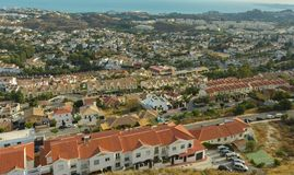Costa del Sol gesehen von der Spitze des Bergs Calamorro lizenzfreies stockfoto
