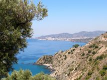 Costa Del Sol Landscape, Nerja town in the distance stock images