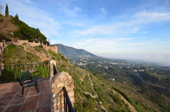 Costa del Sol panorama Mijas Spain. Afternoon view of the Costa del Sol and the Mediterranean Sea from the park in Mijas Spain Stock Photography