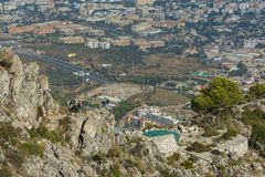 Costa del Sol seen from the peak of Mount Calamorro, the highest Royalty Free Stock Images
