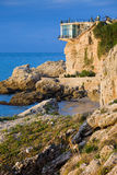 Costa del Sol in Spain. Balcon de Europa (Balcony of Europe) at sunrise on the Mediterranean Sea in Nerja, Costa del Sol, southern Andalusia, Spain Royalty Free Stock Image