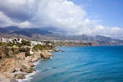 Costa del Sol in Spain. Scenic coastline of Nerja town on the Mediterranean Sea in Spain, southern Andalucia region, Costa del Sol Stock Photography