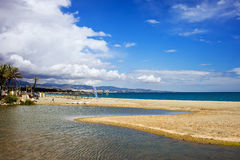 Costa del Sol in Spain. Beach, river and the sea vacation scenery on Costa del Sol in Spain, located between Marbella and Puerto Banus, waters of Green River ( royalty free stock photos