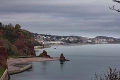 Costa del sur de Devon en un día nublado Foto de archivo libre de regalías