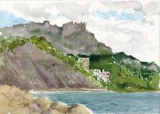 Costa dell'acquerello del mare Immagini Stock Libere da Diritti