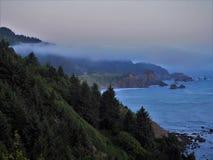 Costa dell'Oregon su un pomeriggio nebbioso Immagini Stock