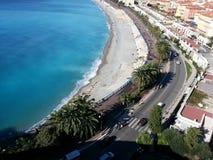 Costa della città di vista del mare di Nizza Nizza bella Fotografia Stock