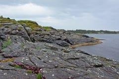 Costa della roccia del Mare del Nord di Rogaland, Norvegia Fotografie Stock