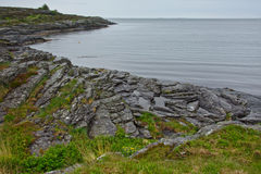 Costa della roccia del Mare del Nord in Rogaland, Norvegia Immagine Stock