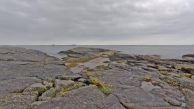 Costa della roccia del Mare del Nord in Rogaland, Norvegia Fotografia Stock
