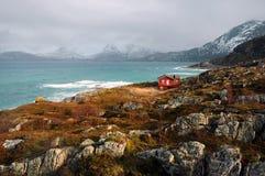 Costa di Atlantico Settentrionale vicino alla città di Tromso, Norvegia Fotografie Stock