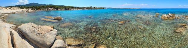 Costa di mar Egeo e spiaggia Chalkidiki, Grecia Immagini Stock Libere da Diritti