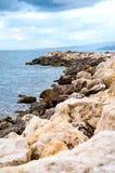 Costa di Mar Nero di vista in direzione di Albena Immagine Stock