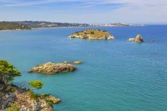 Costa di Puglia: Parco nazionale di Gargano, baia di Vieste, Italia Immagine Stock