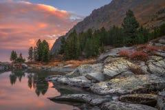 Costa di tramonto del lago mountain con il pino Forest And Rocks, natura Autumn Landscape Photo dell'altopiano delle montagne di  Immagini Stock